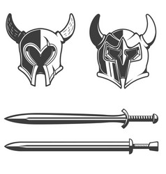 Set of the horned helmets and swords isolated on vector