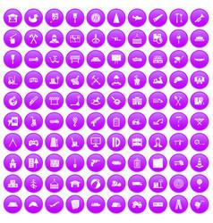 100 lorry icons set purple vector