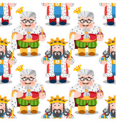 Seamless pattern with cartoon kings vector