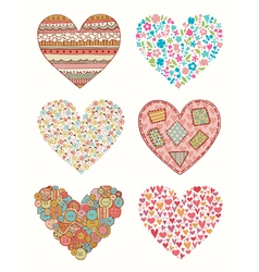 Set of doodle hearts for design vector