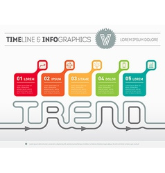 Infographic timeline with five parts time line of vector