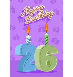 26 year happy birthday card vector