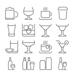 Drink line icons set vector