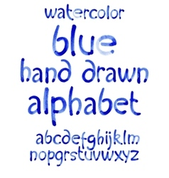 Watercolor hand written blue alphabet vector