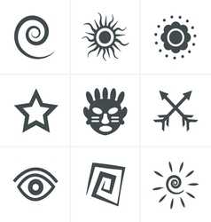 Tribal icons set design vector