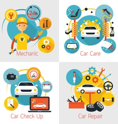 Mechanic and car maintenance service concept set vector