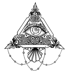 Eye pyramid black vector