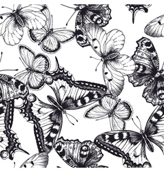 Seamless pattern with butterflies black and white vector