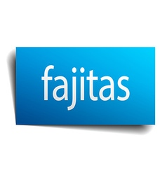 Fajitas blue paper sign on white background vector