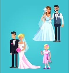 Happy wedding couple vector