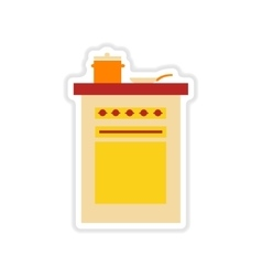 Paper sticker on white background kitchen stove vector