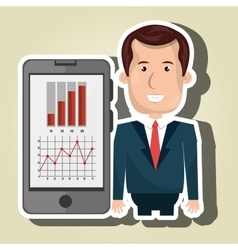 Blazer man red tie smartphone isolated icon design vector