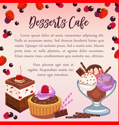 Bakery desserts poster for cafe vector