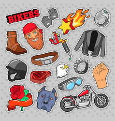 Bikers elements with chopper and motorcycle vector