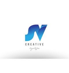 blue gradient sv s v alphabet letter logo vector image