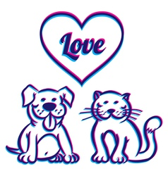 Cat and dog 3d vector