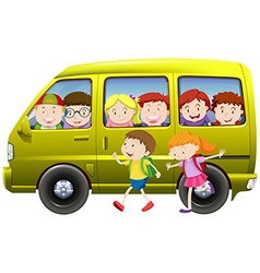 Children carpooling on the van vector