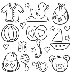 collection stock of baby object doodles vector image vector image