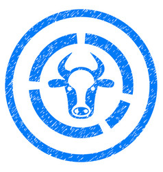 Cow diagram rounded grainy icon vector