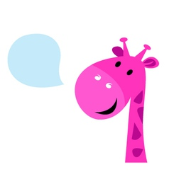 Cute pink talking giraffe vector image