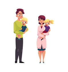 Doctor pediatrician father holding girl boy vector