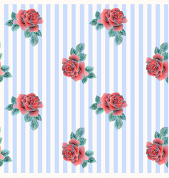 Embroidery roses pattern vector