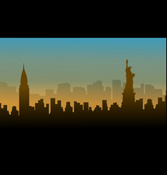 landscape of usa building silhouettes vector image