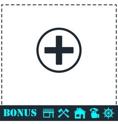 Medical cross icon flat vector