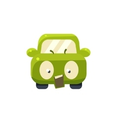 Outraged green car emoji vector