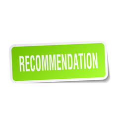 Recommendation square sticker on white vector