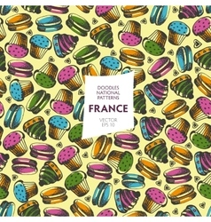 Seamless pattern of tourist attractions of france vector