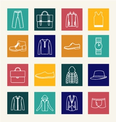 Set of flat man clothing icons vector image vector image