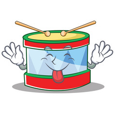 tongue out toy drum character cartoon vector image