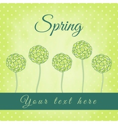 Tree with green spiral leaves spring theme vector