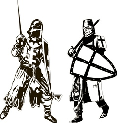 Two Medieval Knights vector image vector image