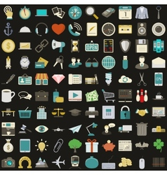 Universal 100 flat icons set vector image