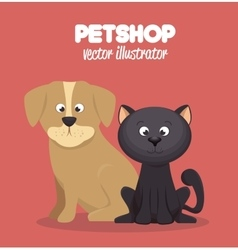 Veterinary pet shop cat and dog graphic vector