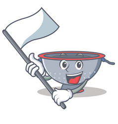 With flag colander utensil character cartoon vector
