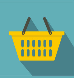 yellow plastic shopping basket icon flat style vector image