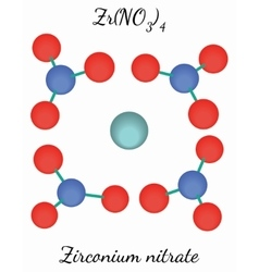 Zirconium nitrate ZrN4O12 molecule vector image vector image