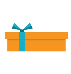 Orange gift box icon vector