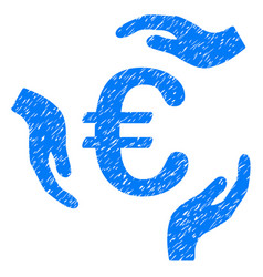 Euro care hands icon grunge watermark vector