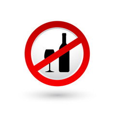 Stop alcohol sign with shadow vector