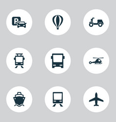 Shipment icons set collection of chopper road vector