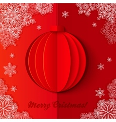 Red origami paper christmas ball vector