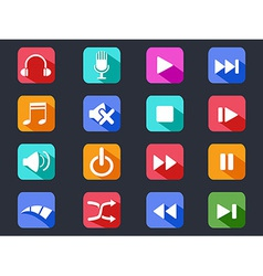 flat media button long shadow icons vector image