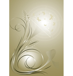 Beige background with swirling lines and butterfli vector image