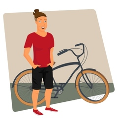 Hipster guy wearing small ponytail with bicycle vector