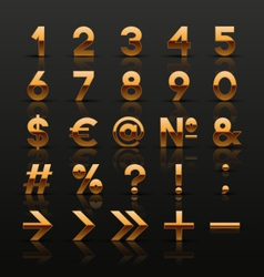 Set of decorative golden numbers and symbols vector