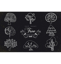 Custom hand made tree icons set vector